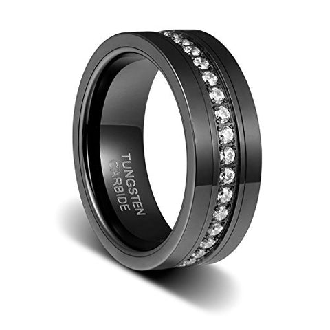 Wedding Band 8mm Black High Polished Cubic Zirconia Inlayed Channel Flat Edge Tungsten Ring