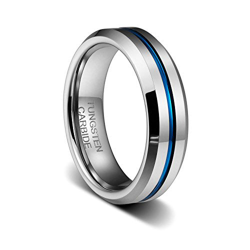 6MM Thin Blue Line Plated Groove Tungsten Carbide Ring wedding band, Tungsten Ring, Eversmart Beauty