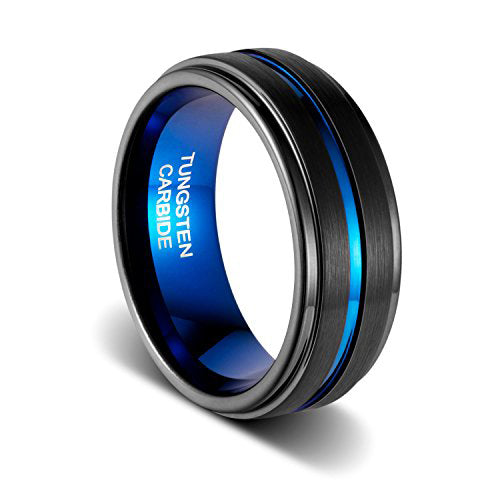 Wedding Band 8mm Matte Finish Thin Blue Plated Groove Step Edge Inner Blue Tungsten Ring, Tungsten Ring, Heaven Culture Jewelry