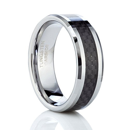 8mm Black Carbon Fiber Inlay Men's Tungsten Carbide Ring Wedding Band Polished Finish, Tungsten Ring, Eversmart Beauty