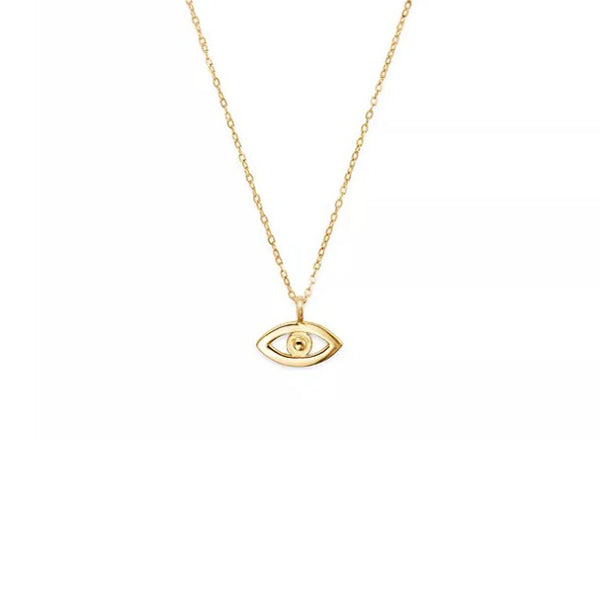 14K Yellow Gold God's Eye Pendant Necklace, Heaven Culture Trinity Necklace, Eversmart Beauty