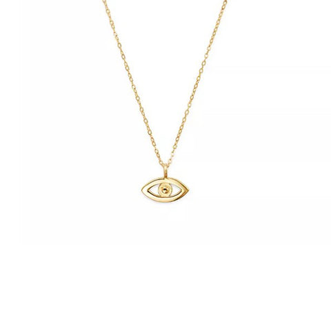14K Yellow Gold God's Eye Pendant Necklace, Heaven Culture Trinity Necklace, Heaven Culture Jewelry