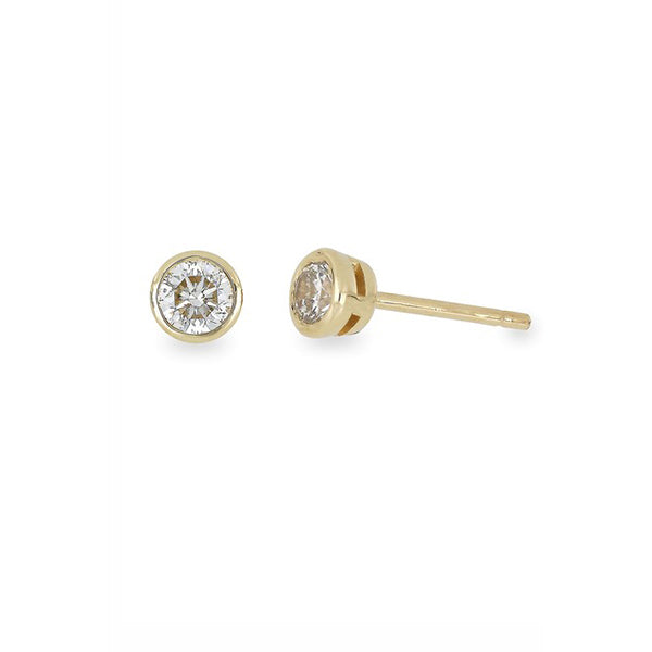 14K Yellow Gold Bezel Set Round Cut Diamond Stud Earrings - 0.15 ctw - 1.00 ctw, , Heaven Culture Jewelry