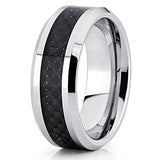 8mm Polished Silver Tungsten Carbide Wedding Band Carbon Fiber Inlay Beveled Edge Comfort Fit, Tungsten Ring, Eversmart Beauty