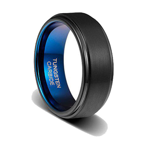 8mm Mens Wedding Band Black Matte Brushed Step Edge Dark Blue Inside Tungsten Ring, Tungsten Ring, Heaven Culture Jewelry