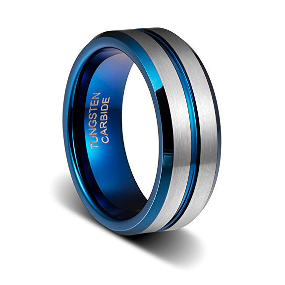 8mm Tungsten Wedding Band Thin Blue Plated Groove Brushed Beveled Edge, Tungsten Ring, Heaven Culture Jewelry