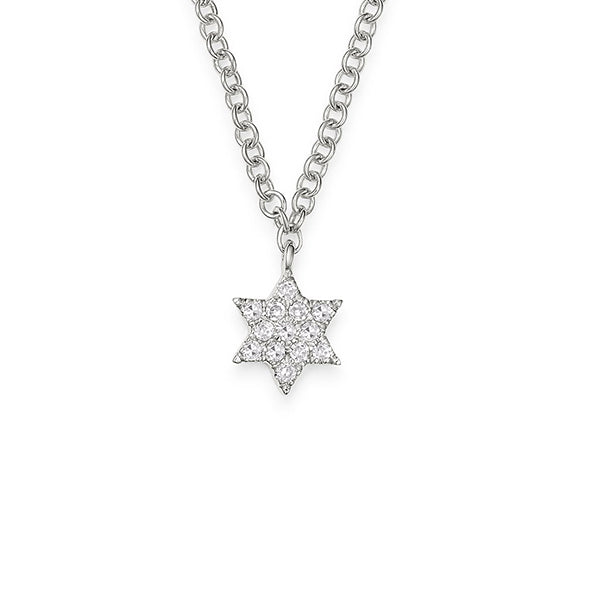 14K White Gold Diamond Star of David Necklace, Heaven Culture Trinity Necklace, Eversmart Beauty
