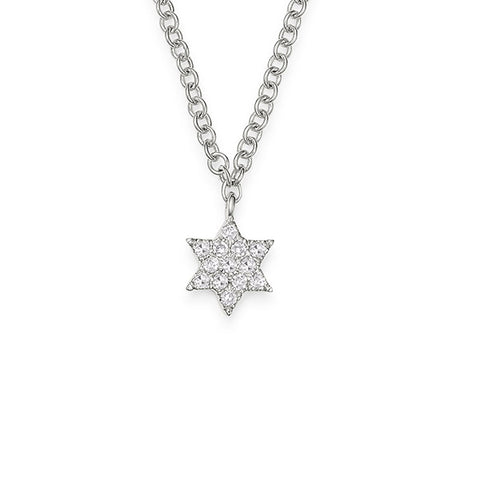 14K White Gold Diamond Star of David Necklace, Heaven Culture Trinity Necklace, Heaven Culture Jewelry
