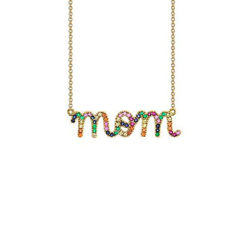 14K Large Gold Rainbow Mom Necklace, Heaven Culture Trinity Necklace, Heaven Culture Jewelry