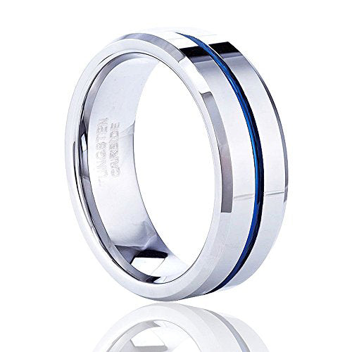 8MM Mens Wedding Band Thin Blue Line Plated Tungsten Carbide Ring, Tungsten Ring, Heaven Culture Jewelry