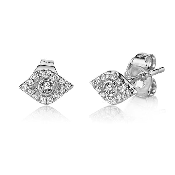 14K White Gold & Diamond God's Eye Stud Earrings, Heaven Culture Trinity Necklace, Eversmart Beauty