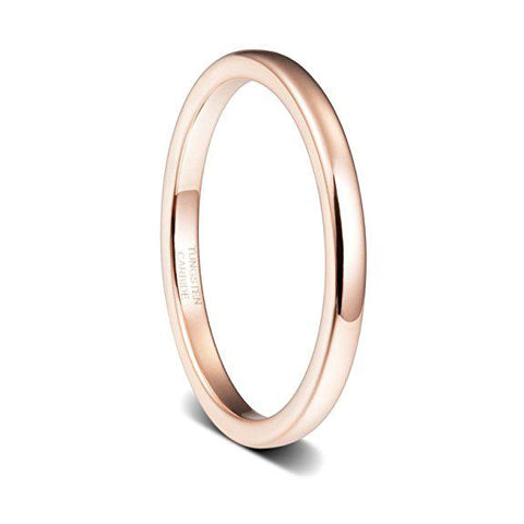 2mm Womens Wedding Band Engagement Ring Rose Gold Plated High Polished Dome Tungsten Ring, Tungsten Ring, Eversmart Beauty
