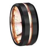 Tungsten Wedding Band Ring 4mm for Men Women Comfort Fit 18K Rose Gold Plated Plated Pipe Cut Flat Brushed Polished, Tungsten Ring, Heaven Culture Jewelry