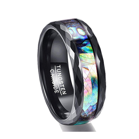 8mm Abalone Shell & Polished Black Faceted Tungsten Carbide Ring, Tungsten Ring, Eversmart Beauty