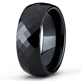 8mm Black Tungsten Carbide Wedding Band Diamond Cut Design Ring Comfort Fit Men & Women, Tungsten Ring, Eversmart Beauty
