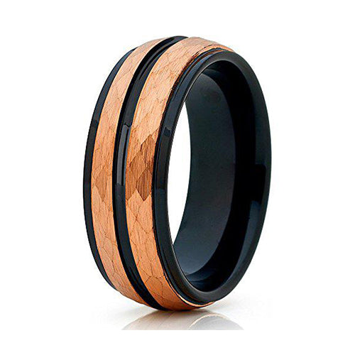 8mm Rose Gold Tungsten Carbide Wedding Ring Hammered Future Design Band, Tungsten Ring, Heaven Culture Jewelry
