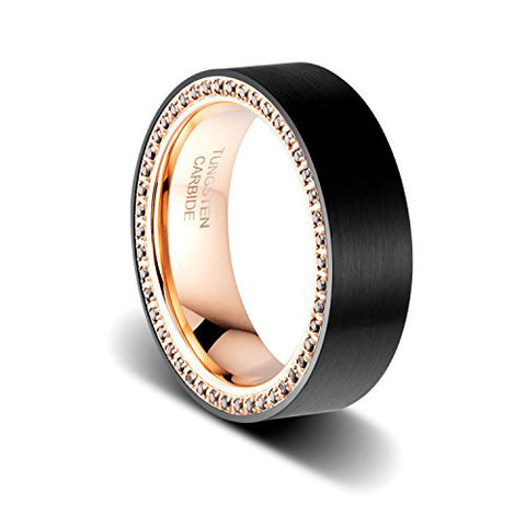 8mm Black Brushed Rose Gold Tungsten Ring with Black Cubic Zirconia Channel Men Wedding Band, Tungsten Ring, Eversmart Beauty
