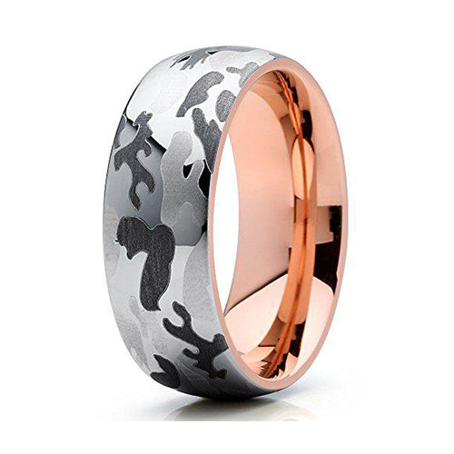 8mm Camouflage Rose Gold Tungsten Carbide Wedding Band 18k Rose Gold Men & Women Tungsten Wedding Band, Tungsten Ring, Heaven Culture Jewelry