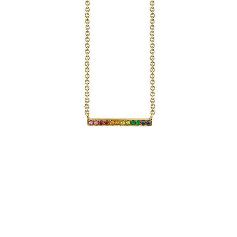 14K Gold Rainbow Bar Necklace, Heaven Culture Trinity Necklace, Heaven Culture Jewelry
