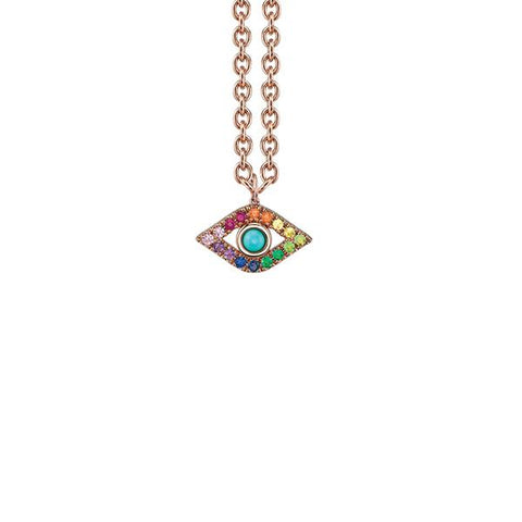 14K Gold Rainbow & Turquoise Extra Large God's Eye Necklace, Heaven Culture Trinity Necklace, Eversmart Beauty