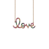 14K Gold Large Gold Rainbow Love Necklace, Heaven Culture Trinity Necklace, Heaven Culture Jewelry