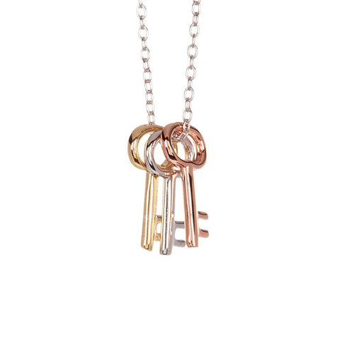 14K Yellow Gold, White Gold and Rose Gold Three Keys to the Kingdom Necklace, , Eversmart Beauty