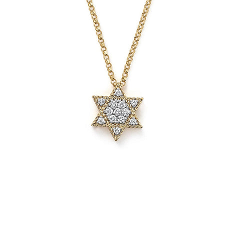 14K Yellow Gold Diamond Star of David Necklace, Heaven Culture Trinity Necklace, Heaven Culture Jewelry