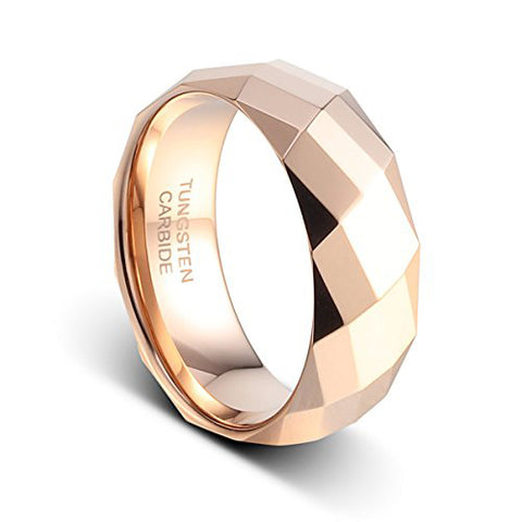 8mm Rose Gold Plated on the Polished Facet Cut Shiny Tungsten Wedding Band Mens Ring, Tungsten Ring, Eversmart Beauty