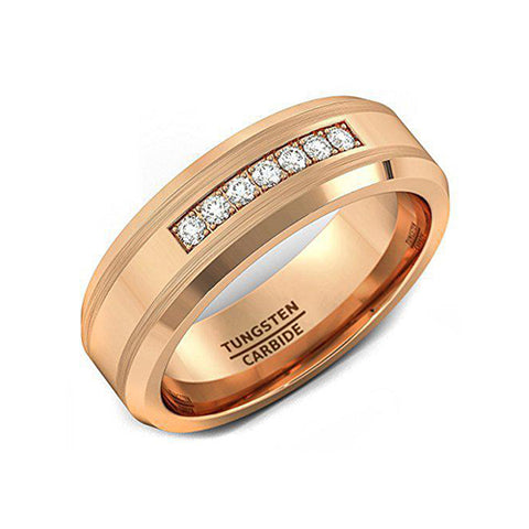 8mm Rose Gold Tungsten Carbide Ring 7 Cubic Zircon Mens Wedding Comfort Fit, Tungsten Ring, Heaven Culture Jewelry