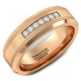 8mm Rose Gold Tungsten Carbide Ring 7 Cubic Zircon Mens Wedding Comfort Fit, Tungsten Ring, Eversmart Beauty