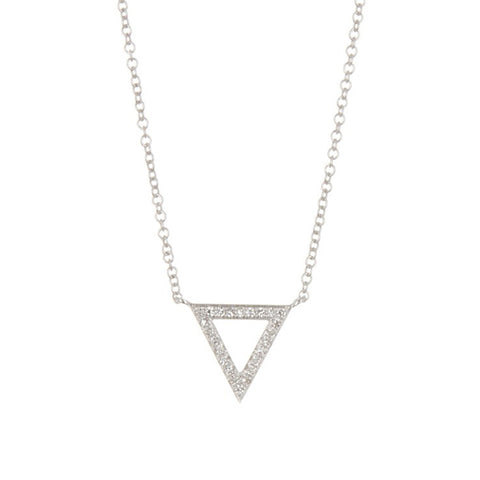 14K White Gold Diamond Pave Trinity Pendant Necklace, Heaven Culture Trinity Necklace, Eversmart Beauty