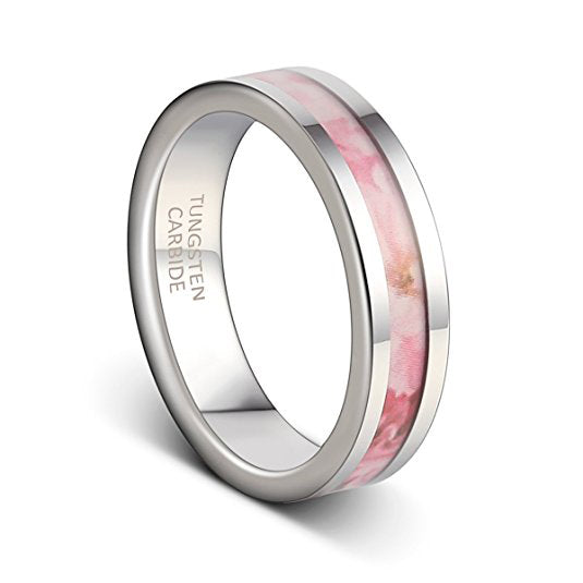 Pink Collection 6MM Tungsten Wedding Band Flat Cut Edge Polished Ring for Women, Tungsten Ring, Eversmart Beauty