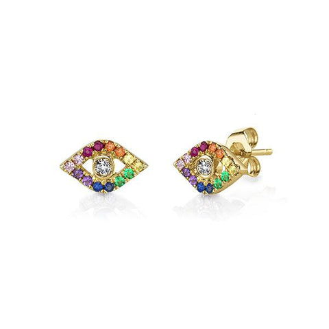 14K Yellow Gold & Diamond God's Eye Rainbow Stud Earrings, Heaven Culture Trinity Necklace, Eversmart Beauty