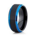 8mm Blue Tungsten Carbide Wedding Band Black Brushed Finish Men & Women Comfort Fit, Tungsten Ring, Heaven Culture Jewelry