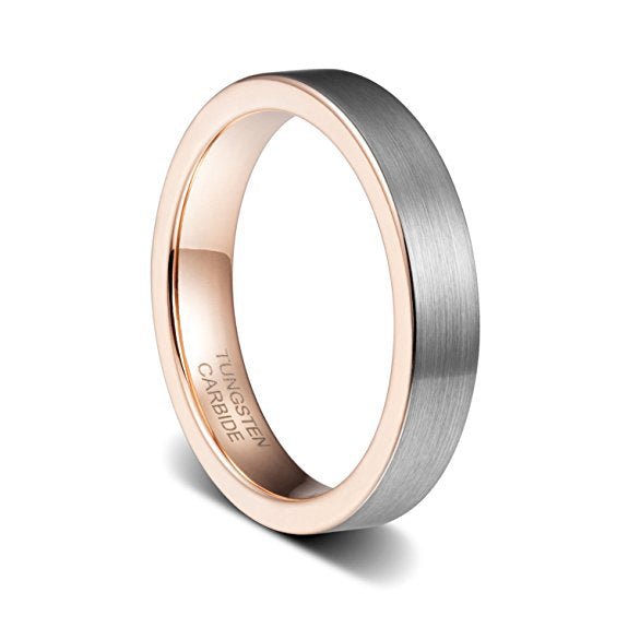 4mm Womens Wedding Band Rose Gold Plated Brushed Flat Edge Tungsten Ring, Tungsten Ring, Eversmart Beauty
