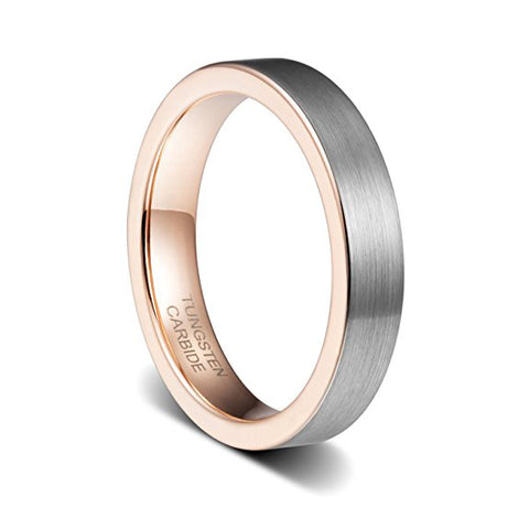 4mm Womens Wedding Band Rose Gold Plated Brushed Flat Edge Tungsten Ring, Tungsten Ring, Heaven Culture Jewelry