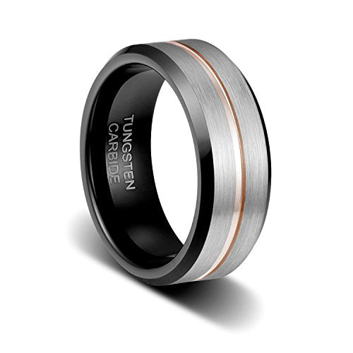 8mm Brushed Finish Surface the Thin Rose Gold Plated Line in Groove Step Edge Tungsten Ring, Tungsten Ring, Heaven Culture Jewelry