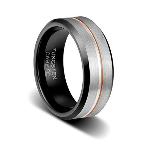 8mm Brushed Finish Surface the Thin Rose Gold Plated Line in Groove Step Edge Tungsten Ring, Tungsten Ring, Eversmart Beauty