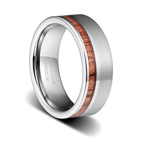 8mm High Polished Tungsten Wedding Bands with Inlay Wood Ring for Men Women, Tungsten Ring, Eversmart Beauty