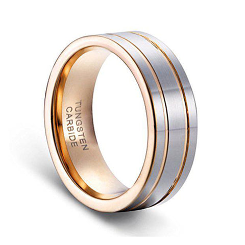 8mm Men's Double Grooved Rose Gold Plated Wedding Band Ring Tungsten Rings, Tungsten Ring, Heaven Culture Jewelry