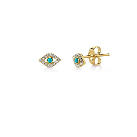 14K Gold & Diamond Mini Bezel God's Eye Stud Earrings with Turquoise, Heaven Culture Trinity Necklace, Eversmart Beauty