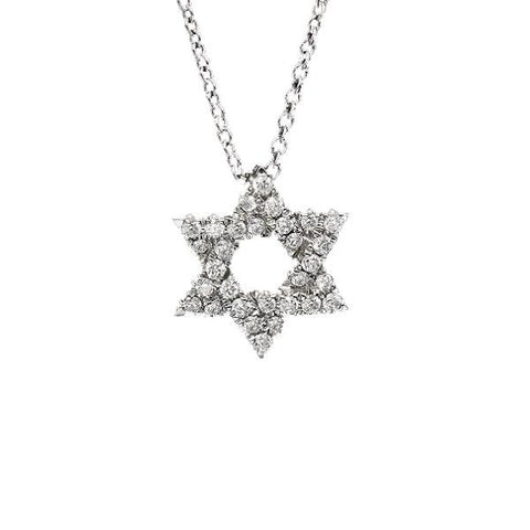 14K White Gold + Diamond Star of David Necklace, Heaven Culture Trinity Necklace, Heaven Culture Jewelry