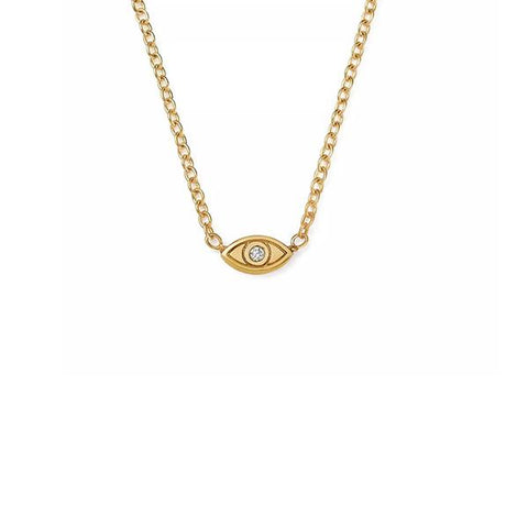 14K Yellow Gold Diamond God's Eye Necklace, Heaven Culture Trinity Necklace, Heaven Culture Jewelry