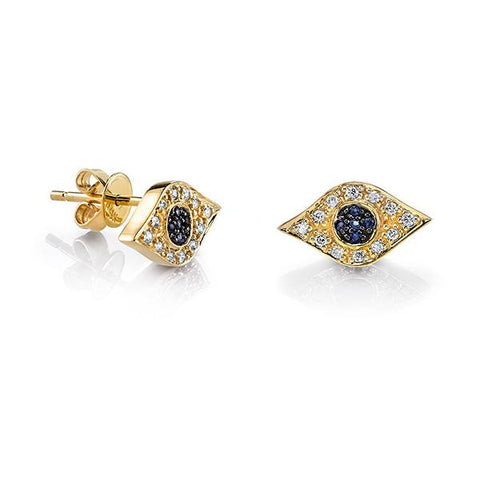 14K Gold & Pavé Diamond God's Eye Studs, Heaven Culture Trinity Necklace, Heaven Culture Jewelry