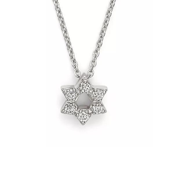 14K White Gold + Diamonds Star of David Necklace, Heaven Culture Trinity Necklace, Heaven Culture Jewelry