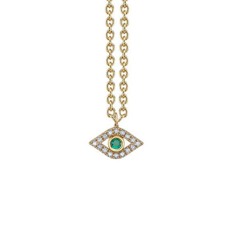 14K Yellow Gold Diamond & Emerald Extra Large Bezel God's Eye Necklace, Heaven Culture Trinity Necklace, Eversmart Beauty