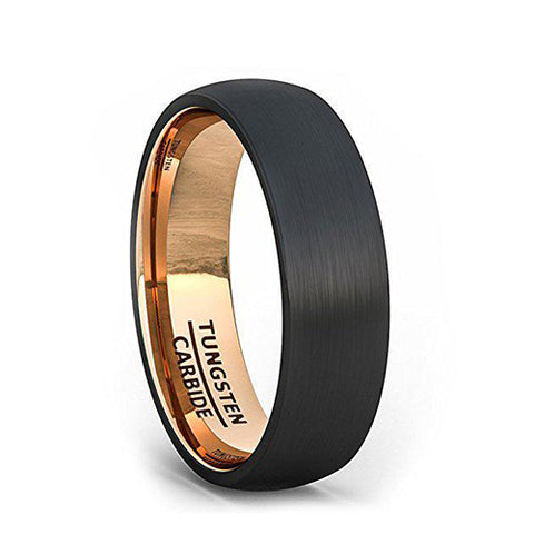 Black Tungsten Ring 6mm Wedding Band Brushed Dome Rose Gold Comfort Fit, Tungsten Ring, Eversmart Beauty