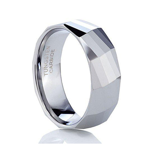Polished Facet Cut Shiny Tungsten Carbide Wedding Band Ring 8MM Size, Tungsten Ring, Eversmart Beauty