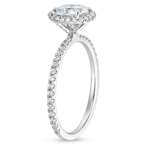 Round Moissanite and Diamond Ring, , Heaven Culture Jewelry