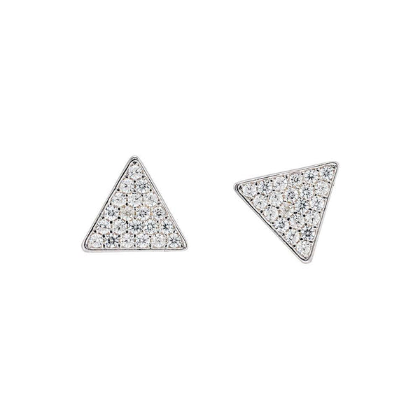 14K White Gold Trinity Stud Earrings, 14K White Gold Trinity Diamond Earrings, Heaven Culture Jewelry